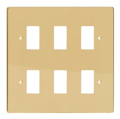 Varilight XDVPG6 PowerGrid Polished Brass 6 Gang Grid Plate (Double Twin Plate)
